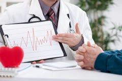 Cardiologue donnant des résultats d'électrocardiogramme Photos stock