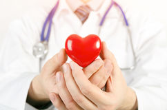Cardiologue tenant le modèle du coeur 3D Images stock