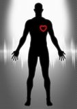 Cardiology. A silhouette illustration of man figure with heart symbol and heartbeat graphic Royalty Free Stock Photos