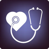 Cardiology. Symbol with stethoscope over the heart vector illustration