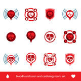 Cardiology and blood transfusion vector icons set, creative symb Royalty Free Stock Photography