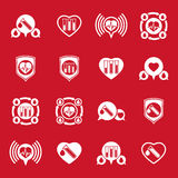 Cardiology and blood transfusion vector icons set, creative symb Stock Images