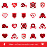 Cardiology and blood transfusion vector icons set, creative symb Stock Photo