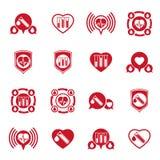 Cardiology and blood transfusion vector icons set, creative symb Stock Photo