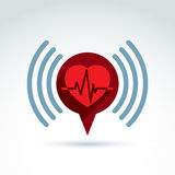 Cardiology cardiogram heart beat information icon, vector concep Stock Image