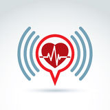 Cardiology cardiogram heart beat information icon, vector concep Stock Photography