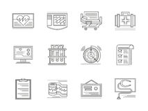 Cardiology elements linear icons set. Medical tools and equipment. Cardiology elements. Health treatment service. Set of flat black line icons. Elements for web Stock Photography