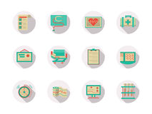 Cardiology equipment round flat color icons Royalty Free Stock Photos