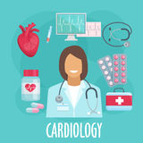 Cardiology flat icon with doctor and medicines. Heart screening and medication treatments of heart diseases symbol with cardiologist, heart, stethoscope and ecg Stock Photo