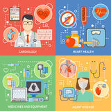 Cardiology Flat 2x2 Icons Set. Colorful cardiology flat 2x2 icons set with cardiologists medicines and equipment for heart health and treatment isolated vector Royalty Free Stock Photo