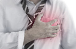 Cardiology. Front view of a businessman with cardiology heart disease, red around the area of pain Royalty Free Stock Image
