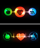 Cardiology health care symbols connected with hear Royalty Free Stock Photos
