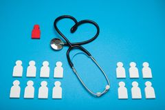 Cardiology health concept, medical stethoscope. Individual insurance.  royalty free stock image
