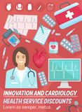 Cardiology, heart health. Cardiologist doctor. Cardiology and heart health medicine, cardiologist doctor, stethoscope, diagnostic tools and treatment stock illustration