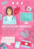 Vector poster for heart cardiology medicine. Cardiology and innovation cardio medicine poster for heart health clinic and medical surgery. Vector design of Royalty Free Stock Photos