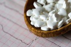 cardiology Makro av ECG-grafen och cardio pills Preventivpillerar som en höra arkivbilder