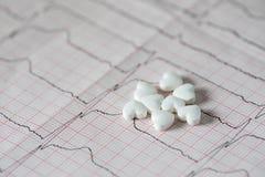 cardiology Makro av ECG-grafen och cardio pills Preventivpillerar som en höra fotografering för bildbyråer