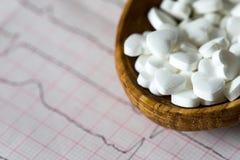 cardiology Makro av ECG-grafen och cardio pills Preventivpillerar som en höra royaltyfria bilder