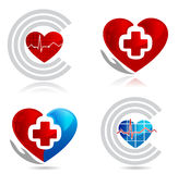 Cardiology and mecdical symbols. Cardiology, medical and healthy heart symbols. Beautiful bright colors Royalty Free Stock Photos