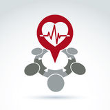 Cardiology medical and society cardiogram heart beat icon, medic Stock Images