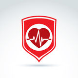 Cardiology protection heart cardiogram icon, cardio Royalty Free Stock Photography