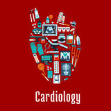 Cardiology symbol with flat silhouette of a heart Stock Photography
