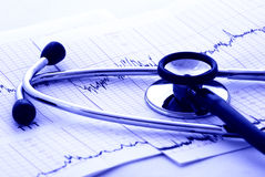 Cardiology test and stethoscope stock photography