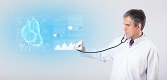 Cardioloog die de onderzoeksresultaten voorstellen royalty-vrije illustratie