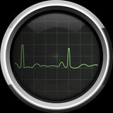 在cardiomonitor屏幕上的心电图在绿色口气 库存图片