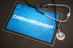Cardiomyopathy (heart disorder) diagnosis medical concept on tab. Let screen with stethoscope stock photo