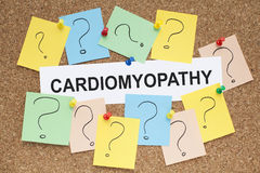 Cardiomyopathy Heart Muscle Disease. Cardiomyopathy word on cork bulletin board royalty free stock images