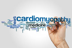 Cardiomyopathy word cloud. Concept on grey background royalty free stock photography