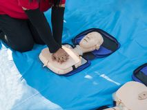 Cardiopulmonary resuscitation (CPR), an emergency medical procedure. Cardiopulmonary resuscitation (CPR), an emergency procedure Demonstrating chest stock photos