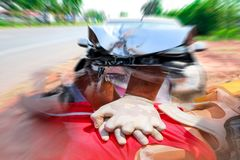 Cardiopulmonary resuscitation CPR first aid for safe life. Front damaged of the car which were severely by accident after collision with other vehicles royalty free stock photos