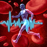 Cardiovascular circulation. Human cardiovascular circulation represented by a running human with a background of red blood cells flowing through an artery royalty free illustration