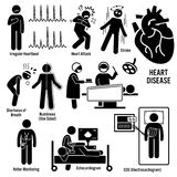 Cardiovascular Disease Heart Attack Coronary Artery Illness Clipart. Set of illustrations for cardio vascular disease include the symptoms and the diagnosis for stock illustration