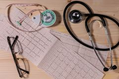 Cardiovascular system health measure instruments. A few instruments for measuring risk factors of cardiovascular diseases on wooden table Royalty Free Stock Photography