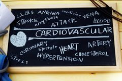 Cardiovascular words cloud. On blackboard Stock Images