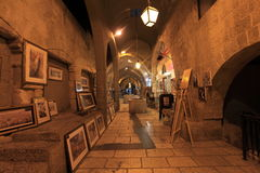 Cardo Arcade Galleries & Shops, Jerusalem. The Cardo is the reconstructed main street of Byzantine Jerusalem from the 6th century. This street, with columns Stock Photo