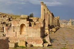 Cardo, Jerash Fotografía de archivo
