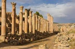Cardo, Jerash Stock Afbeelding