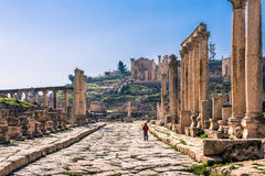 The Cardo in Jerash. Jordan. Jerash (the Roman ancient city of Geraza). The Cardo Maximus (the Colonnaded Street Stock Image