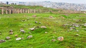Cardo Maximus road and Jerash city in winter Royalty Free Stock Photography