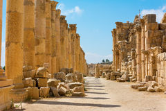 The Cardo Maximus street in Jerash ruins Jordan Royalty Free Stock Photos