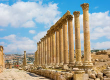 The Cardo Maximus street in Jerash ruins Jordan Stock Photo