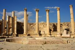 Cardo Straße in Jerash, Jordanien Stockfotos