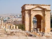 Cardo van de hoofdstraat in Jerash, Jordanië Stock Foto