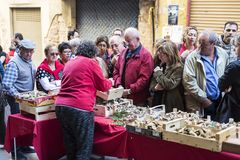 Mushroom flea market of Cardona in Catalonia, Spain Stock Images