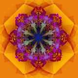MANDALA GEOMETRIC GOLD FLOWER, PURPPLE CENTER IN ABSTRACT SHAPES.DECORATIVES ELEMENTS, TEXTURE vector illustration