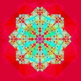LACE FLOWER MANDALA IN A RED BACKGROUND . WITH A CENTRAL FLOWER IN FUCHSIA. BRIGHT COLORS AQUAMARINE,TURQUOISE stock image